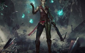 Picture girl, magic, skeleton, hunter, art, crossbow, dungeons and dragons