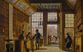Picture interior, picture, Johannes Jelgerhuis, Shop of a Bookseller in Amsterdam