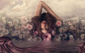 Picture water, girl, reflection, roses, key