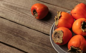 Picture background, plate, persimmon