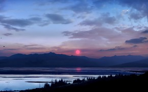 Picture forest, twilight, Landscape, sky, trees, sunset, figure, mountains, clouds, lake, sun, painting, digital art, artwork, ...