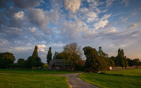Picture road, greens, grass, clouds, trees, field, the evening, houses, Netherlands