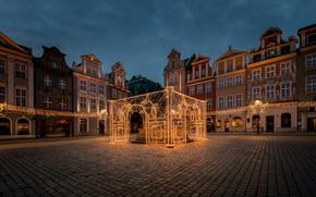 Wallpaper Poznan, area, home, night, Poland, garland, lights