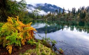 Picture autumn, clouds, trees, landscape, mountains, lake, Switzerland, Grisons