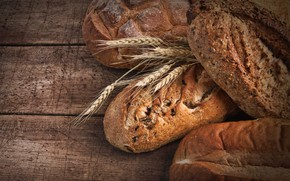 Picture spikelets, bread, cakes