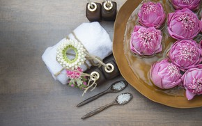 Picture flowers, Spa, sea salt, Towels