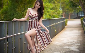 Picture smile, dress, legs, Asian