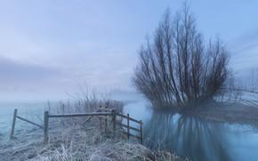 Wallpaper frost, fog, river