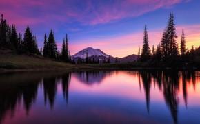 Picture clouds, trees, mountains, lake, reflection, glow, USA, Washington