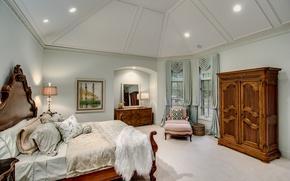 Picture bed, fur, wardrobe, bedroom