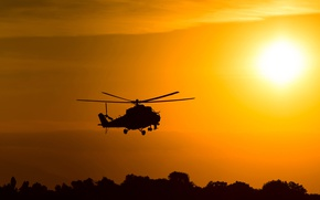 Picture the sky, the sun, flight, dawn, spinner, silhouette, helicopter, BBC, bokeh, helicopter, Russian, Mi-24, Soviet, …