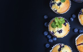 Picture mint, blueberries, cupcakes, sweet, cakes, berries