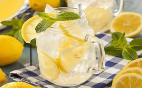 Picture ice, drink, mint, lemons, lemonade