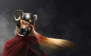 Wallpaper horns, mask, girl, face, helmet, blonde, art, look