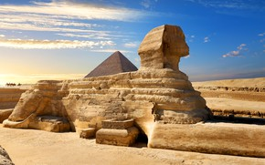 Picture the sky, the sun, clouds, desert, pyramid, Egypt, riders, Sphinx, Cairo, Great Sphinx of Giza
