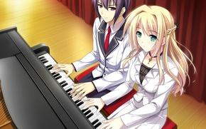 Picture girl, music, the game, anime, art, guy, piano, Mote Sugite Shuraba na Ore