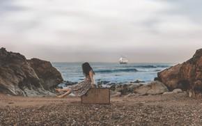 Picture girl, sea, ship, rocks, pebbles, sailboat, suitcase
