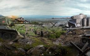 Wallpaper Soviet, panorama, German, WOT, World of Tanks, tanks, T-34, the battle, battle, Tiger I
