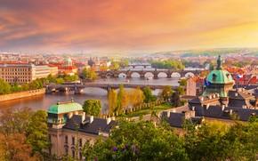 Picture autumn, the sky, the sun, trees, the city, river, home, Prague, Czech Republic, bridges