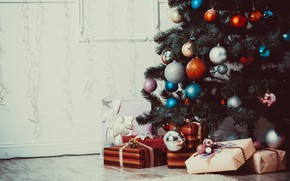 Picture decoration, tree, new year, gifts, toys