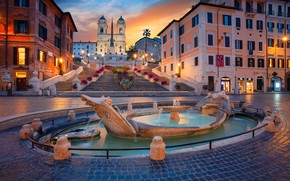 Picture building, home, area, Rome, Italy, ladder, Church, fountain, Italy, Rome, The Spanish steps, Espana, Fontana ...