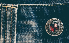 Picture macro, jeans, material, button