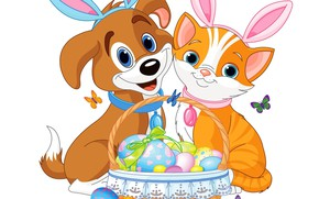 Picture animals, background, eggs, Easter