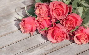 Picture flowers, roses, bouquet, wood