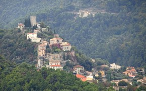 Picture trees, mountains, France, home, haze, Turret-Levans