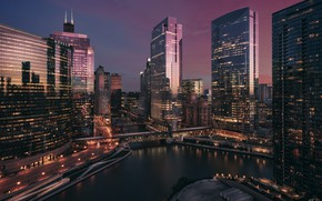 Picture the city, skyscrapers, the evening, Chicago, Michigan, usa, chicago, Illinois