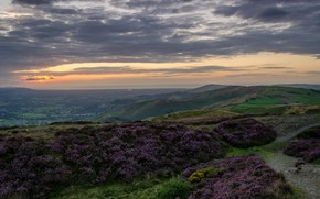 Picture the sky, clouds, sunset, hills, field, panorama, UK, North Wales