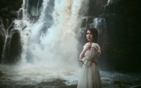 Picture girl, waterfall, dress, Aleah Michele