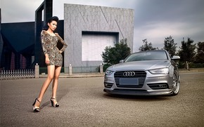 Picture auto, look, girl, Audi, Girls, Asian, is above the machine