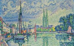 Picture ship, picture, pier, Paul Signac, pointillism, The Odet at Quimper