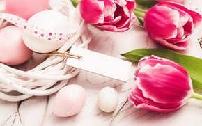 Picture flowers, spring, Easter, tulips, wood, pink, flowers, tulips, spring, Easter, eggs, decoration, Happy, the painted …