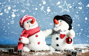 Picture snowman, Xmas, New Year, snow, snow, winter, Merry Christmas, happy, Christmas, snowflakes, snowman, Christmas, decoration, …