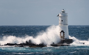 Picture sea, wave, the sky, the sun, squirt, stones, lighthouse, horizon, Italy, Ligthouse Mangiabarche, Calasetta