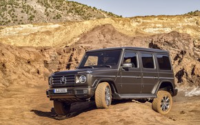 Picture the sky, vegetation, Mercedes-Benz, SUV, brown, 2018, G-Class, quarry