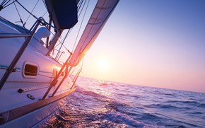 Picture sea, the sun, the way, morning, yacht, sail, sailboat into sunrise