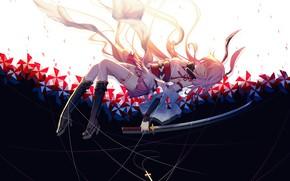 Picture girl, weapons, cross, katana, anime, art, ears, benghuai xueyuan, xing muhen