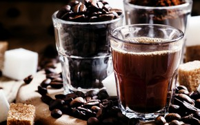 Picture glass, coffee, sugar, drink, coffee beans