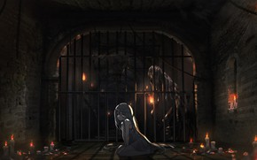 Picture candles, anime, art, girl, lantern, the reshotka river canal,, dungeon, oota youjo