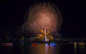 Picture lights, holiday, the building, beauty, panorama, Tokyo, Japan, Rainbow Bridge, fireworks
