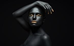 Wallpaper fashion, Golden, black, pose, make up
