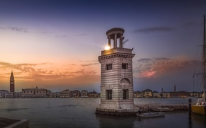 Picture the sky, lighthouse, the evening, Italy, San Giorgio Maggiore