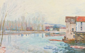 Picture landscape, house, river, Alfred Sisley, Alfred Sisley, Winter in Moret-sur-Luena