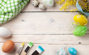 Picture flowers, Easter, wood, spring, Easter, eggs, decoration, Happy, Mimosa