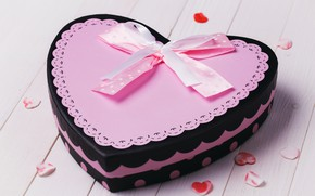 Picture pink, box, heart, hearts, cake, bow, Valentine's day, ribbon