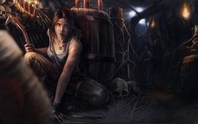 Picture girl, candles, skull, Tomb Raider, Lara Croft, barrels, torches, Lara Croft, ice pick