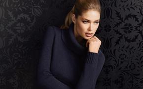 Picture look, girl, model, Doutzen Kroes, blonde, sweater, Doutzen Croesus, Victoria's Secret Angel, Cruz, Persian